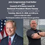 Congressman Fred Keller, Corrections Officer Union President Shane Fausey to hold COVID-19 tele-townhall for corrections officers